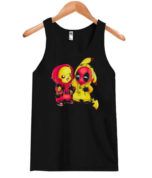 Baby Pikachu Pokemon and Deadpool Tank Top