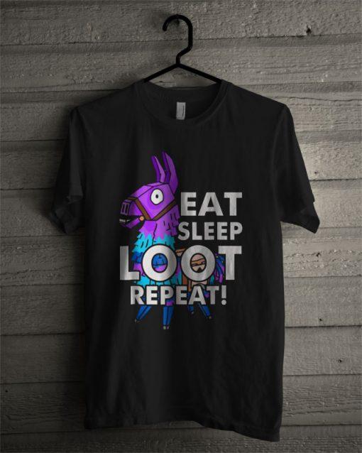 Loot Llama Eat Sleep Loot Repeat Battle Royale T Shirt