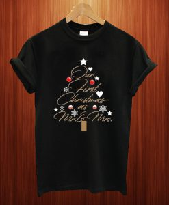 Youth Our First Christmas as Mr. & Mrs Newlywed Gift T Shirt