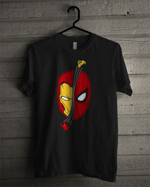 Spidey Ironman Face Homecoming T Shirt