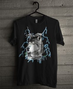 Vintage American Thunder Wolf Lighting T Shirt