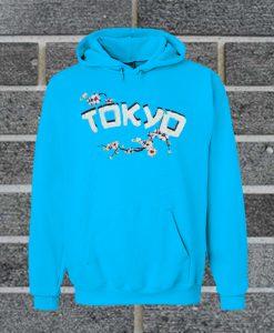 Tokyo Sakura Print Blue Color Hoodie