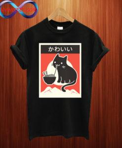 """""""Kawaii"""" Vintage Style Japenese Ramen Cat T Shirt"""