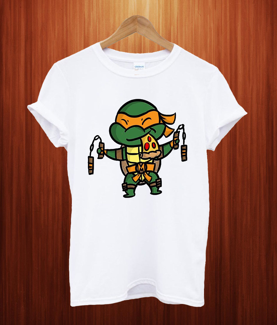 Michelangelo With Pizza T Shirt